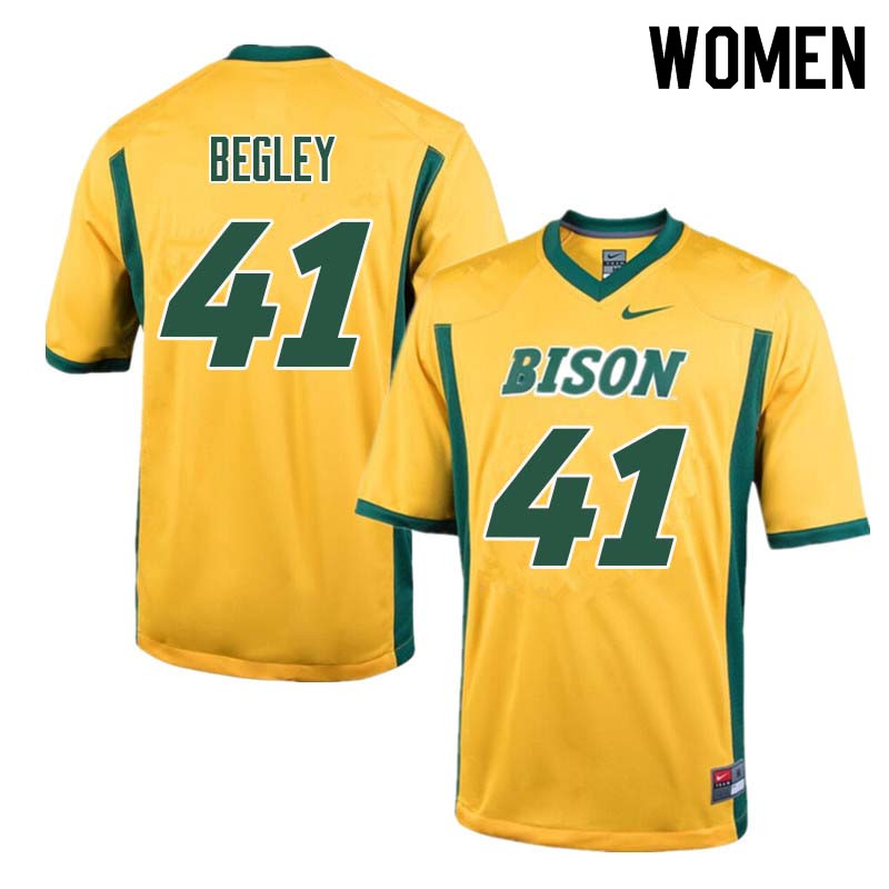 Women #41 Jack Begley North Dakota State Bison College Football Jerseys Sale-Yellow