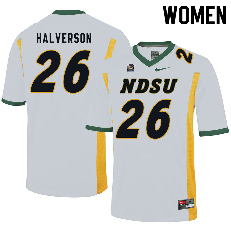 Women #26 Jacob Halverson North Dakota State Bison College Football Jerseys Sale-White
