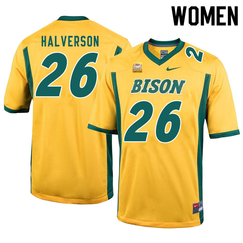 Women #26 Jacob Halverson North Dakota State Bison College Football Jerseys Sale-Yellow