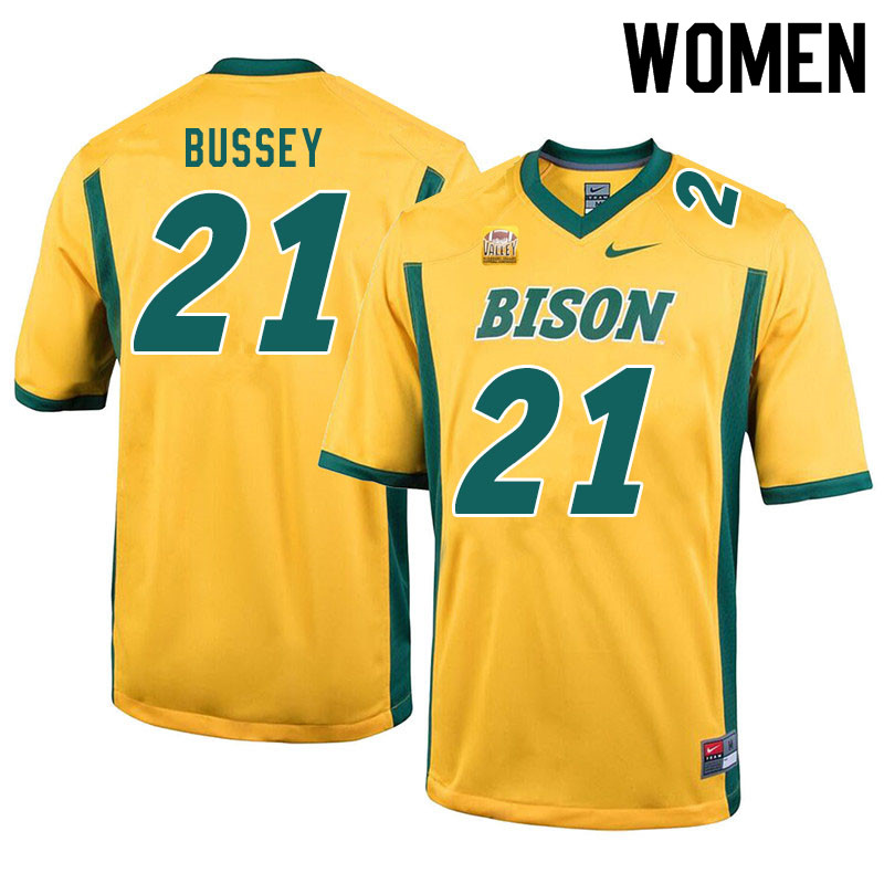 Women #21 Jalen Bussey North Dakota State Bison College Football Jerseys Sale-Yellow