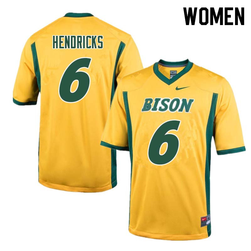Women #6 James Hendricks North Dakota State Bison College Football Jerseys Sale-Yellow