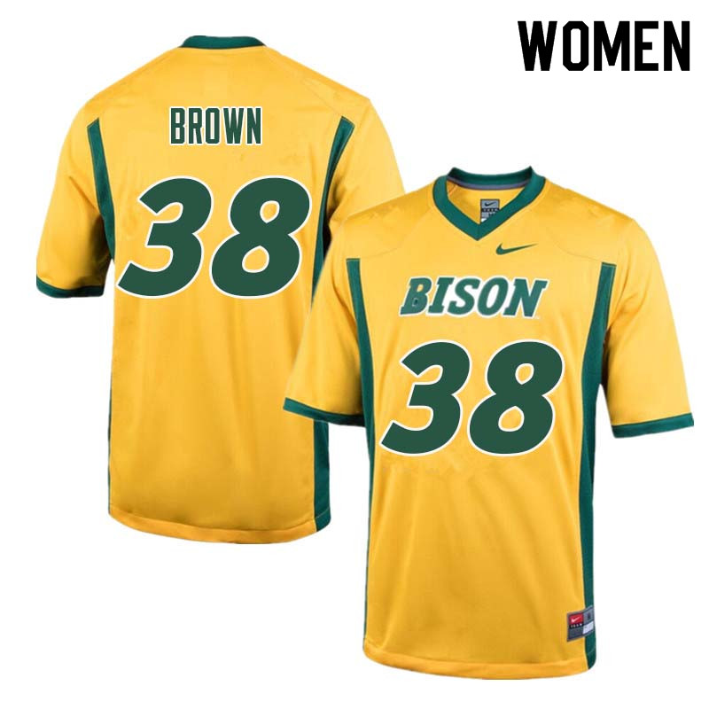 Women #38 Jaxon Brown North Dakota State Bison College Football Jerseys Sale-Yellow