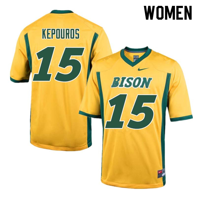 Women #15 Jimmy Kepouros North Dakota State Bison College Football Jerseys Sale-Yellow