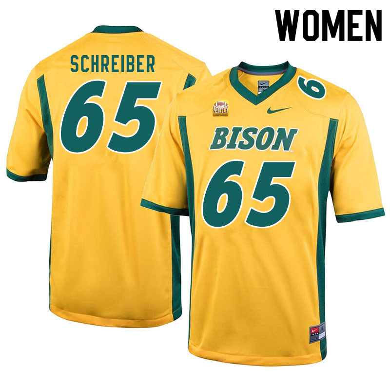 Women #65 Joe Schreiber North Dakota State Bison College Football Jerseys Sale-Yellow