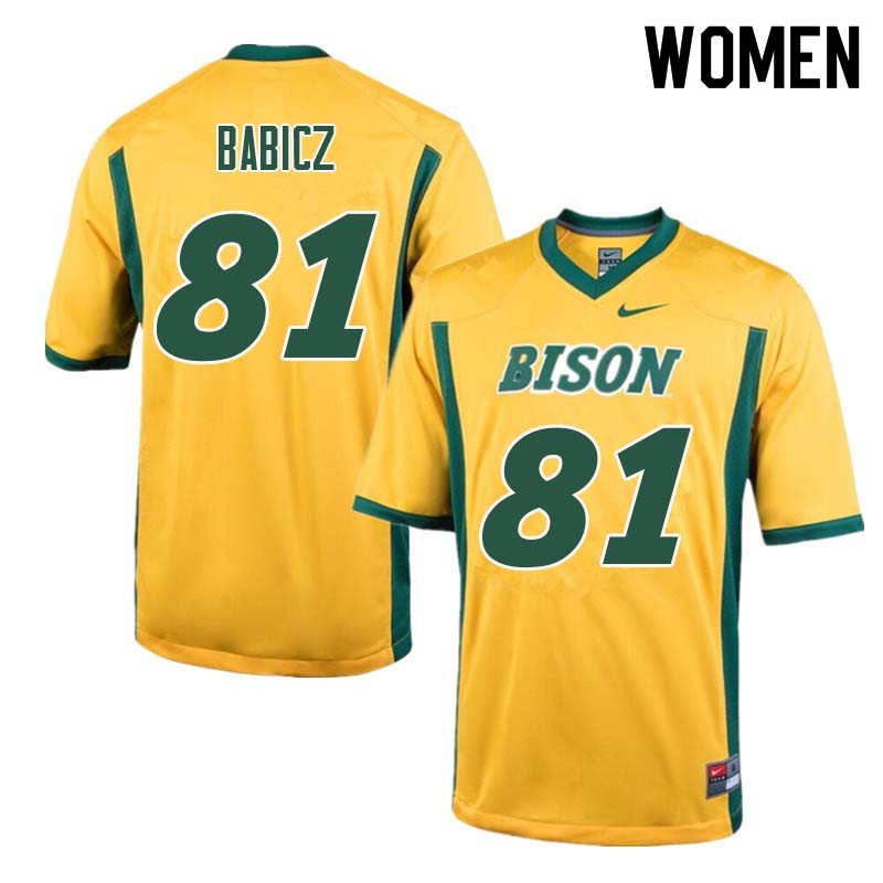 Women #81 Josh Babicz North Dakota State Bison College Football Jerseys Sale-Yellow
