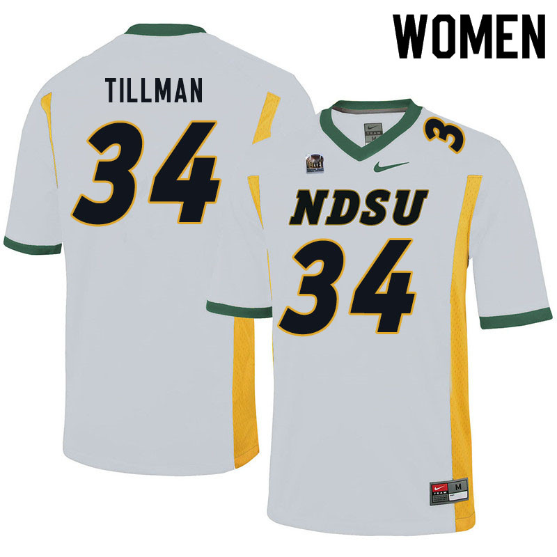 Women #34 Juanye Tillman North Dakota State Bison College Football Jerseys Sale-White