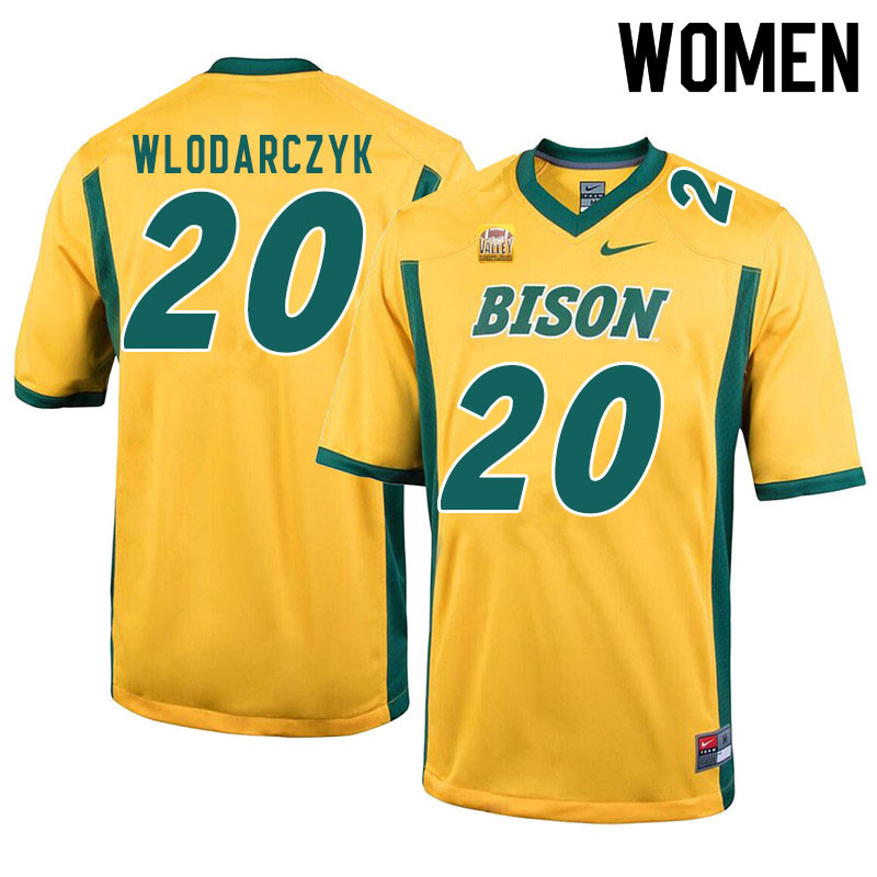 Women #20 Julian Wlodarczyk North Dakota State Bison College Football Jerseys Sale-Yellow