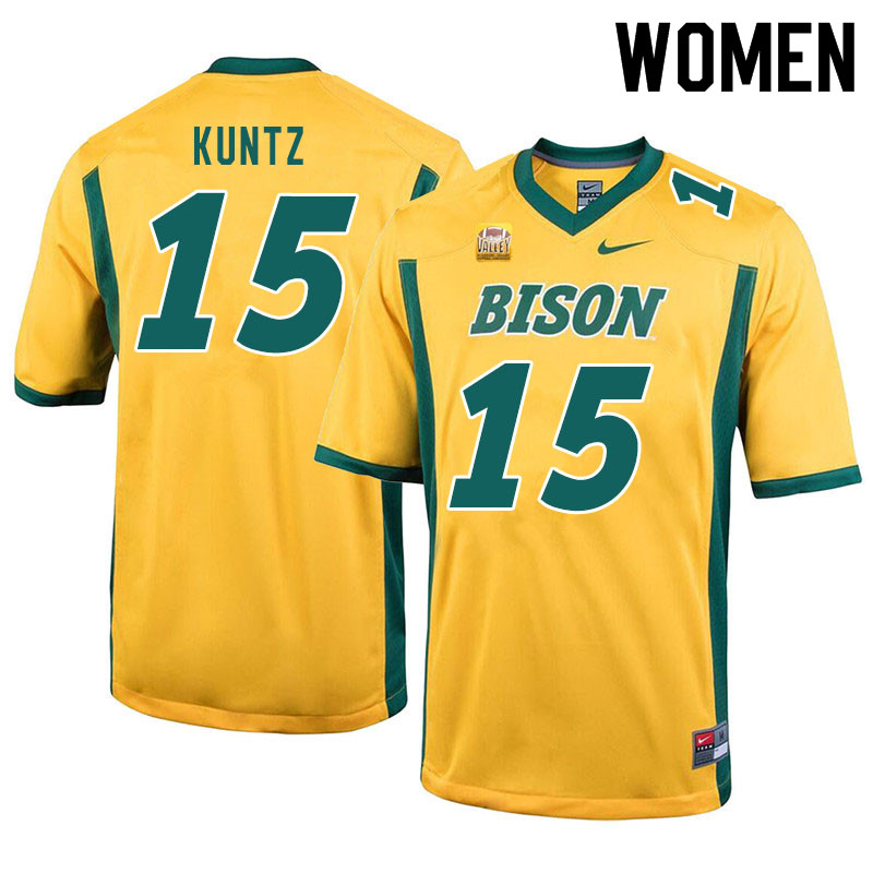 Women #15 Kaden Kuntz North Dakota State Bison College Football Jerseys Sale-Yellow