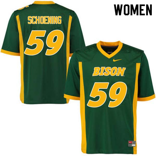 Women #59 Karson Schoening North Dakota State Bison College Football Jerseys Sale-Green