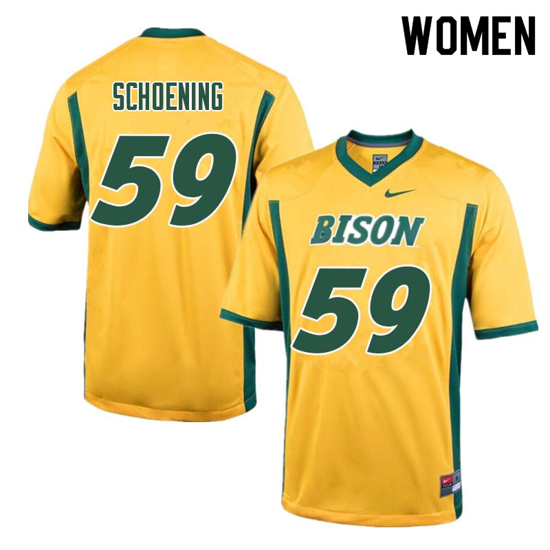 Women #59 Karson Schoening North Dakota State Bison College Football Jerseys Sale-Yellow