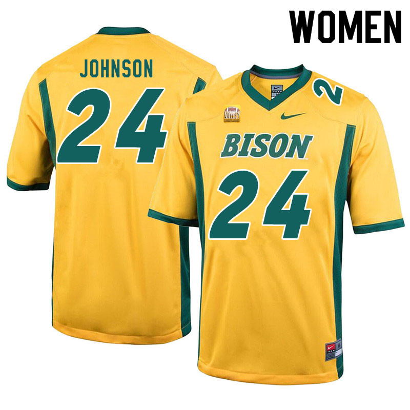 Women #24 Kobe Johnson North Dakota State Bison College Football Jerseys Sale-Yellow