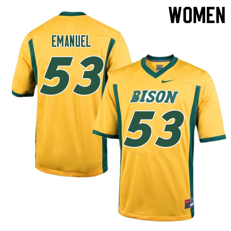 Women #53 Kyle Emanuel North Dakota State Bison College Football Jerseys Sale-Yellow