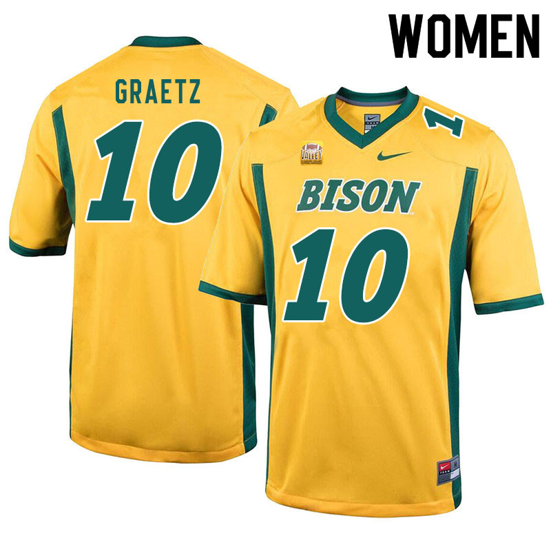 Women #10 Logan Graetz North Dakota State Bison College Football Jerseys Sale-Yellow