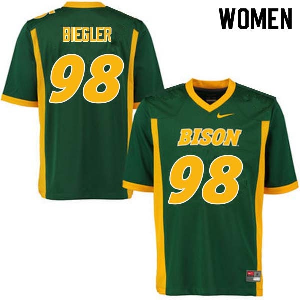 Women #98 Matt Biegler North Dakota State Bison College Football Jerseys Sale-Green