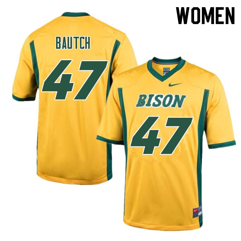 Women #47 Max Bautch North Dakota State Bison College Football Jerseys Sale-Yellow