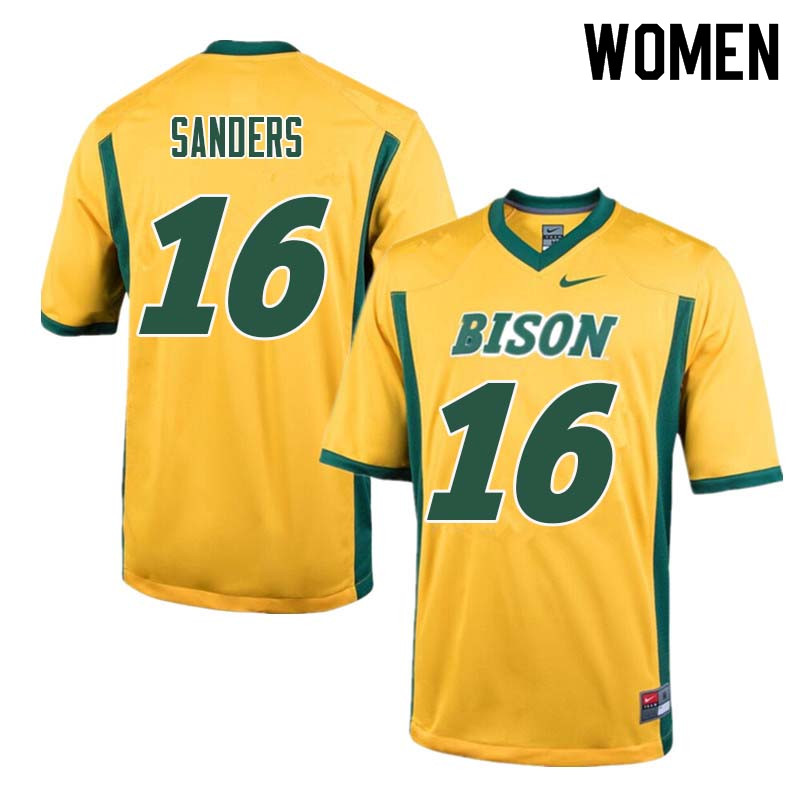 Women #16 Noah Sanders North Dakota State Bison College Football Jerseys Sale-Yellow
