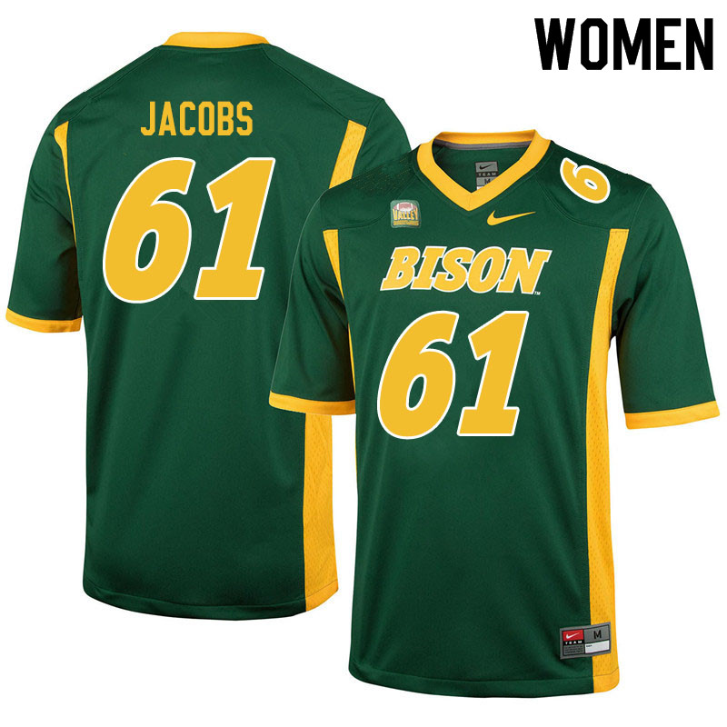 Women #61 Nolan Jacobs North Dakota State Bison College Football Jerseys Sale-Green