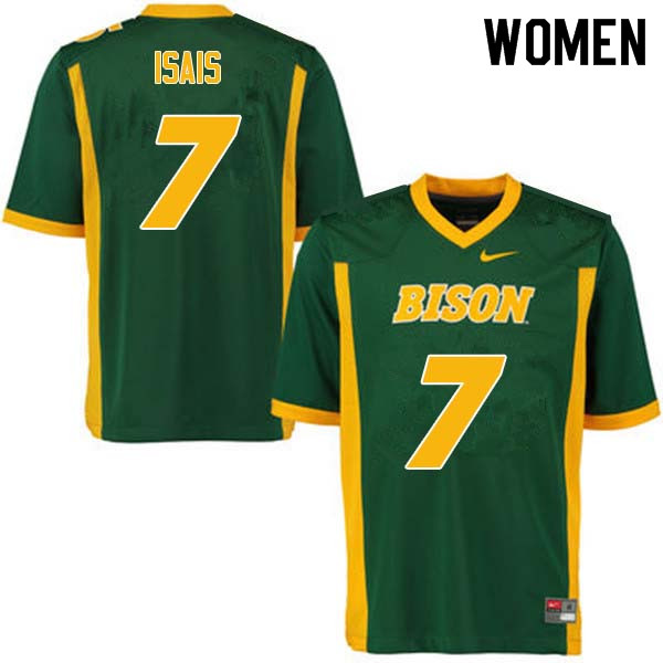 Women #7 Peter Isais North Dakota State Bison College Football Jerseys Sale-Green