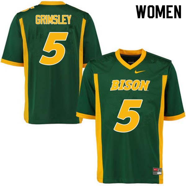 Women #5 Robbie Grimsley North Dakota State Bison College Football Jerseys Sale-Green