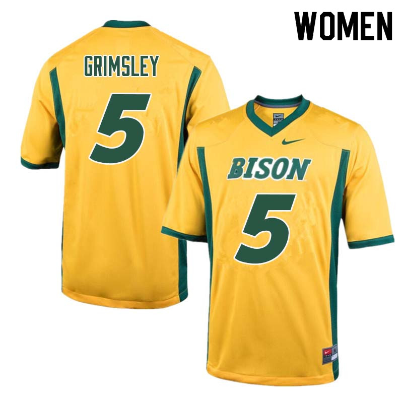 Women #5 Robbie Grimsley North Dakota State Bison College Football Jerseys Sale-Yellow