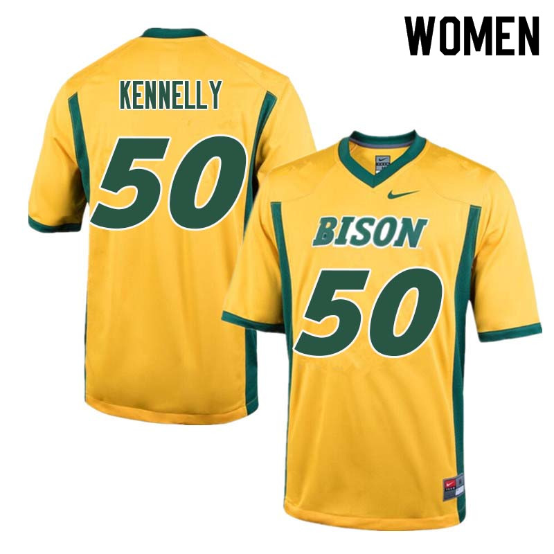 Women #50 Ross Kennelly North Dakota State Bison College Football Jerseys Sale-Yellow