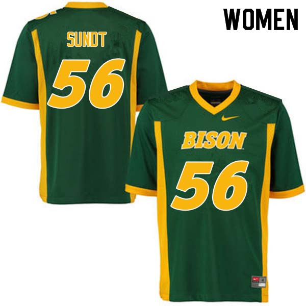 Women #56 Tanner Sundt North Dakota State Bison College Football Jerseys Sale-Green