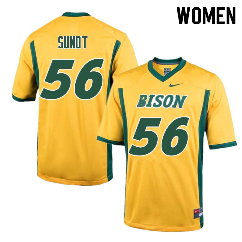 Women #56 Tanner Sundt North Dakota State Bison College Football Jerseys Sale-Yellow