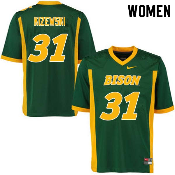 Women #31 Victor Kizewski North Dakota State Bison College Football Jerseys Sale-Green