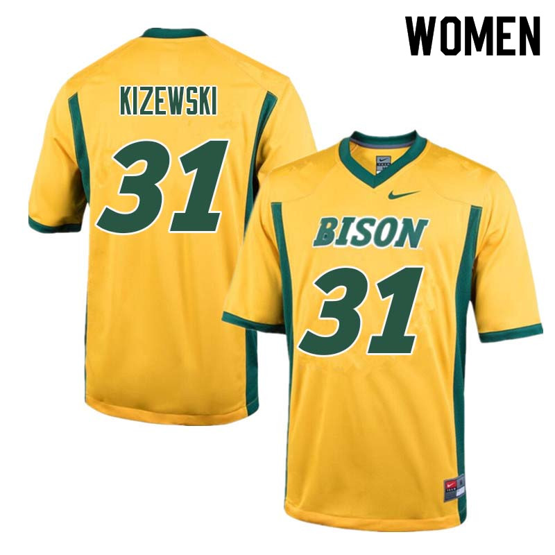 Women #31 Victor Kizewski North Dakota State Bison College Football Jerseys Sale-Yellow