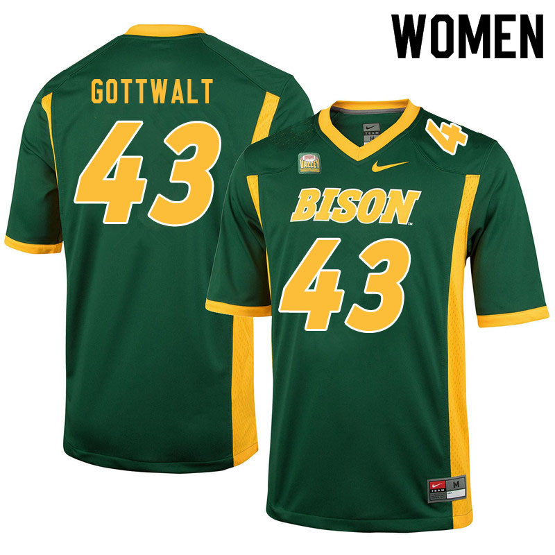 Women #43 Zach Gottwalt North Dakota State Bison College Football Jerseys Sale-Green