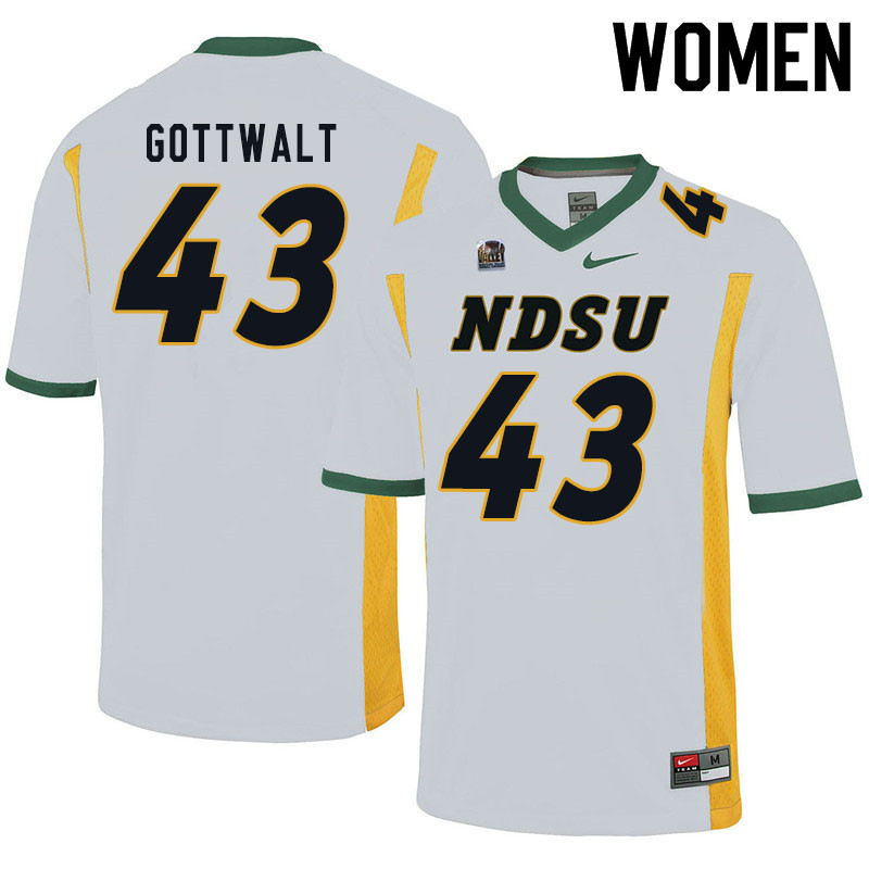 Women #43 Zach Gottwalt North Dakota State Bison College Football Jerseys Sale-White