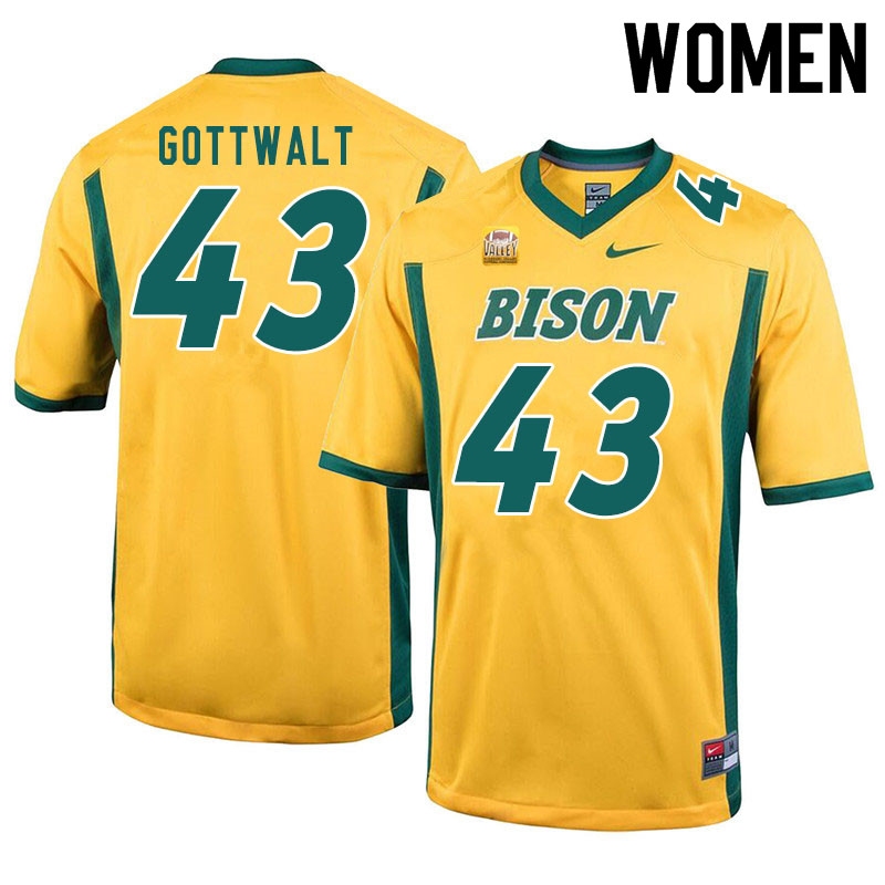 Women #43 Zach Gottwalt North Dakota State Bison College Football Jerseys Sale-Yellow