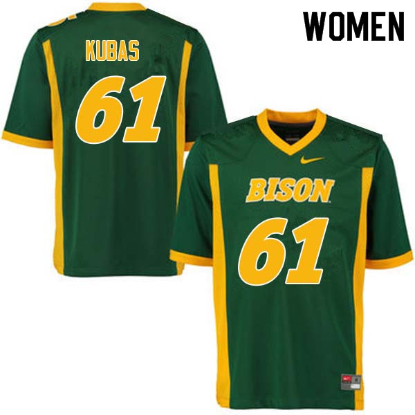 Women #61 Zach Kubas North Dakota State Bison College Football Jerseys Sale-Green