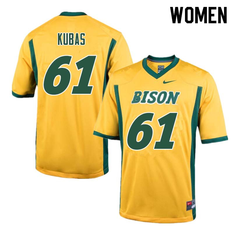 Women #61 Zach Kubas North Dakota State Bison College Football Jerseys Sale-Yellow