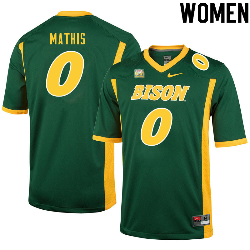 Women #0 Zach Mathis North Dakota State Bison College Football Jerseys Sale-Green