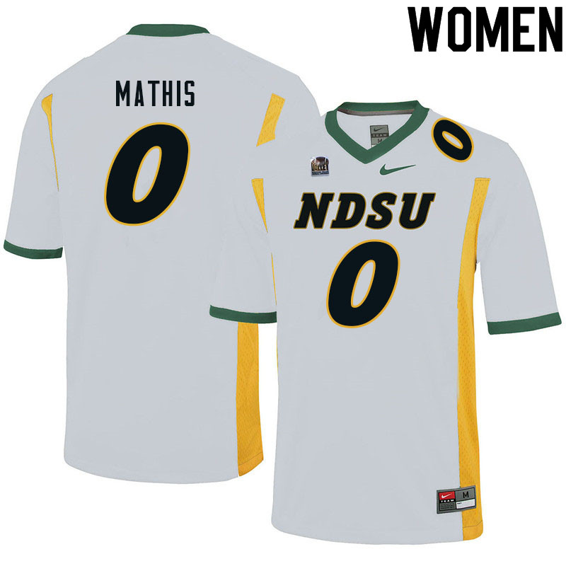 Women #0 Zach Mathis North Dakota State Bison College Football Jerseys Sale-White