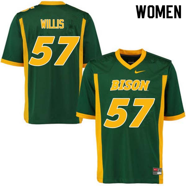 Women #57 Zach Willis North Dakota State Bison College Football Jerseys Sale-Green