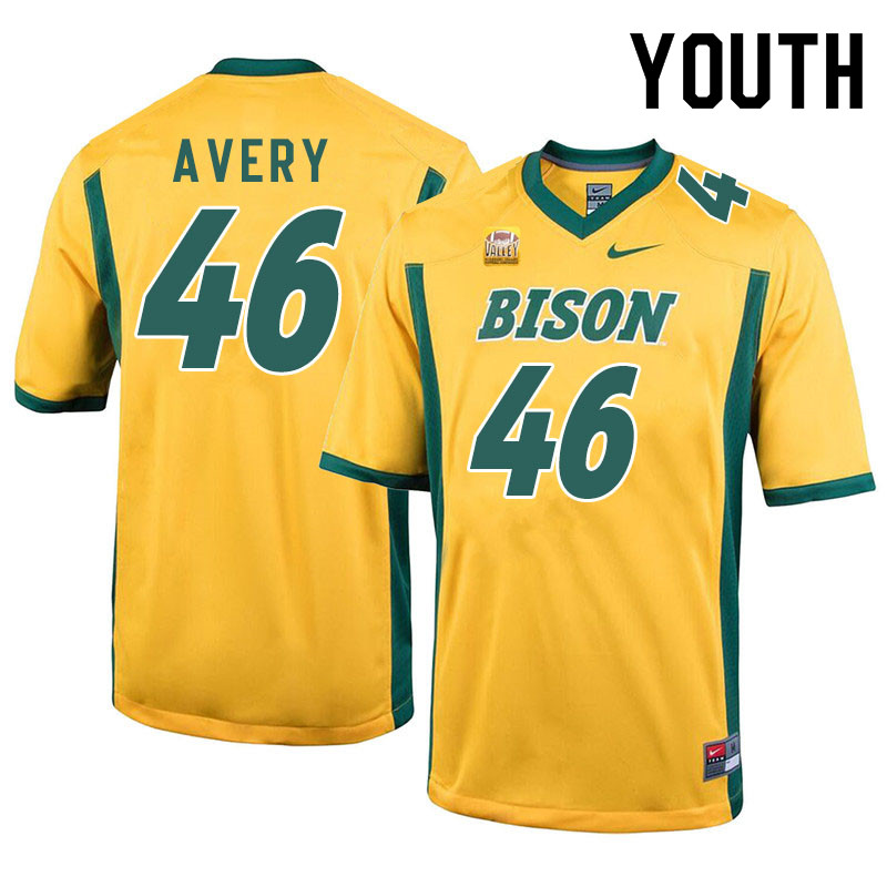 Youth #46 Austin Avery North Dakota State Bison College Football Jerseys Sale-Yellow