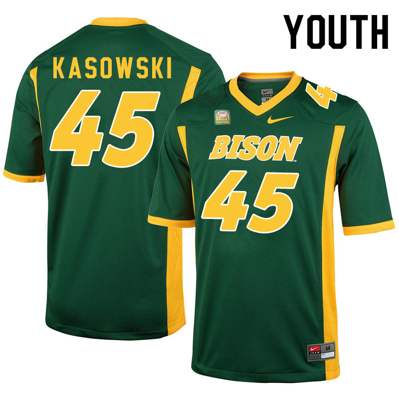 Youth #45 Dustin Kasowski North Dakota State Bison College Football Jerseys Sale-Green