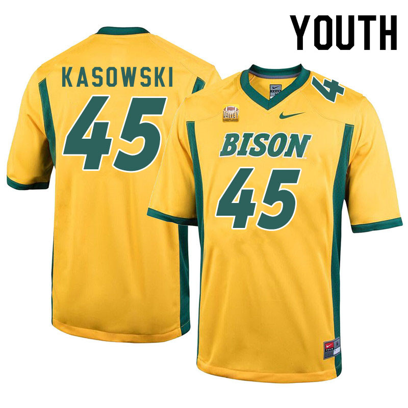 Youth #45 Dustin Kasowski North Dakota State Bison College Football Jerseys Sale-Yellow