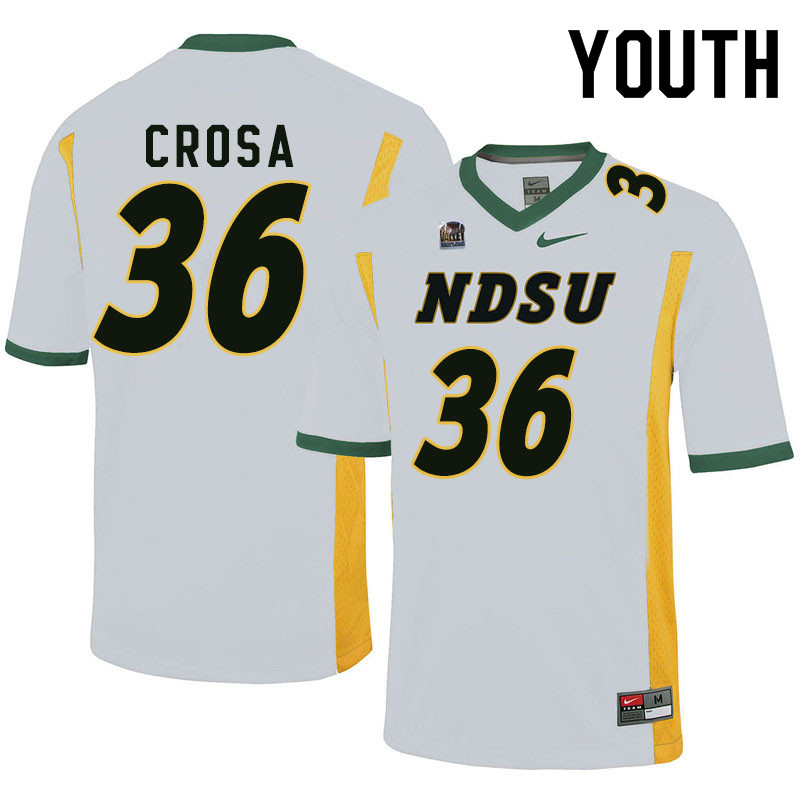 Youth #36 Griffin Crosa North Dakota State Bison College Football Jerseys Sale-White