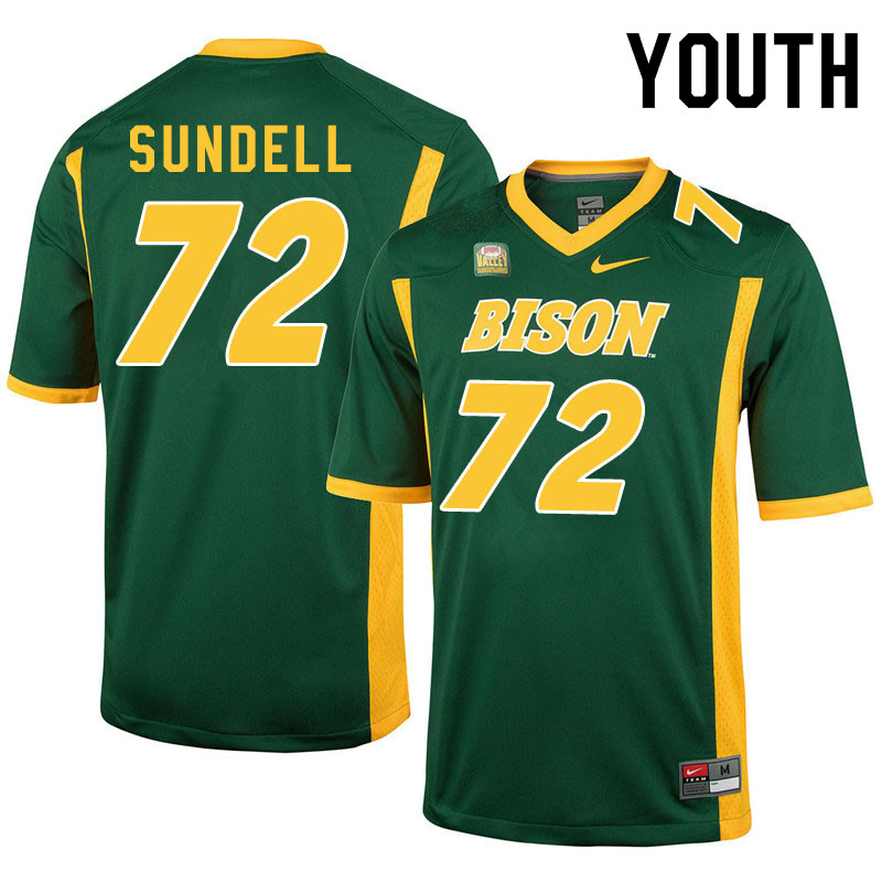 Youth #72 Jalen Sundell North Dakota State Bison College Football Jerseys Sale-Green