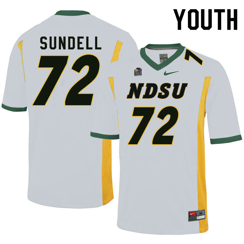 Youth #72 Jalen Sundell North Dakota State Bison College Football Jerseys Sale-White