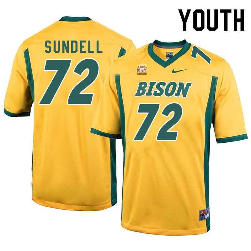 Youth #72 Jalen Sundell North Dakota State Bison College Football Jerseys Sale-Yellow