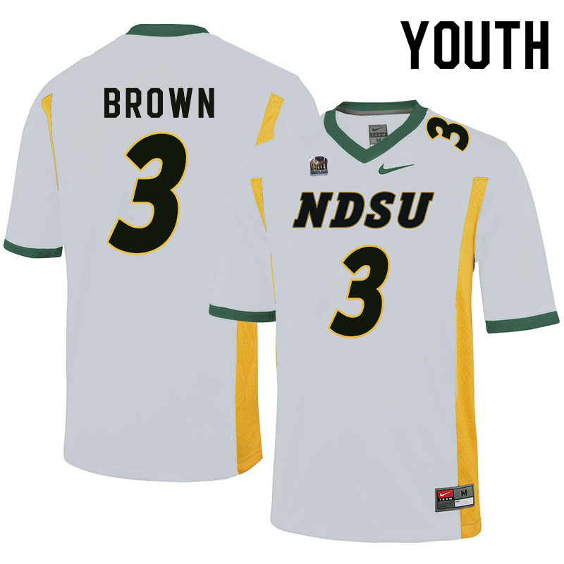Youth #3 Jaxon Brown North Dakota State Bison College Football Jerseys Sale-White