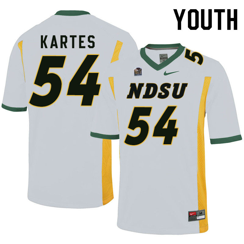 Youth #54 Mitchell Kartes North Dakota State Bison College Football Jerseys Sale-White
