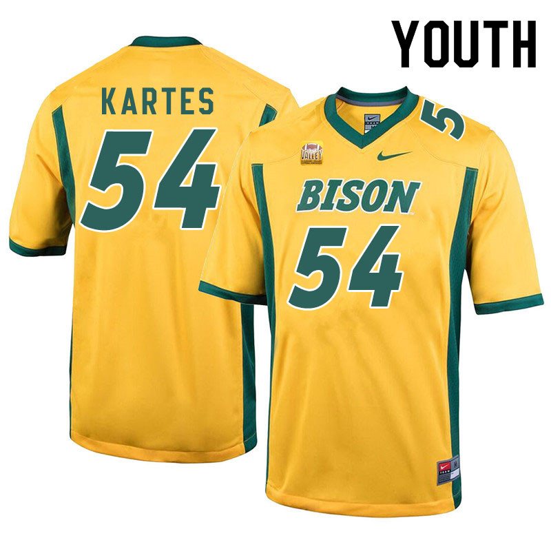 Youth #54 Mitchell Kartes North Dakota State Bison College Football Jerseys Sale-Yellow