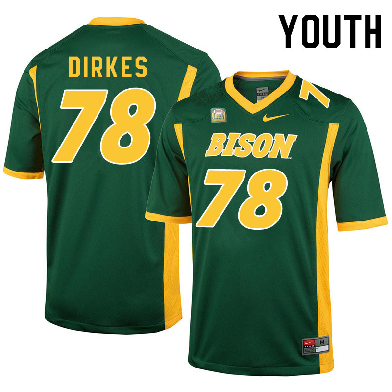 Youth #78 Nate Dirkes North Dakota State Bison College Football Jerseys Sale-Green