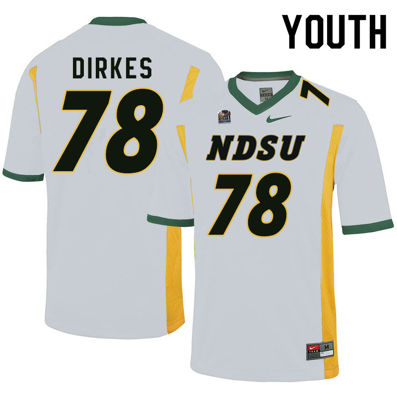 Youth #78 Nate Dirkes North Dakota State Bison College Football Jerseys Sale-White