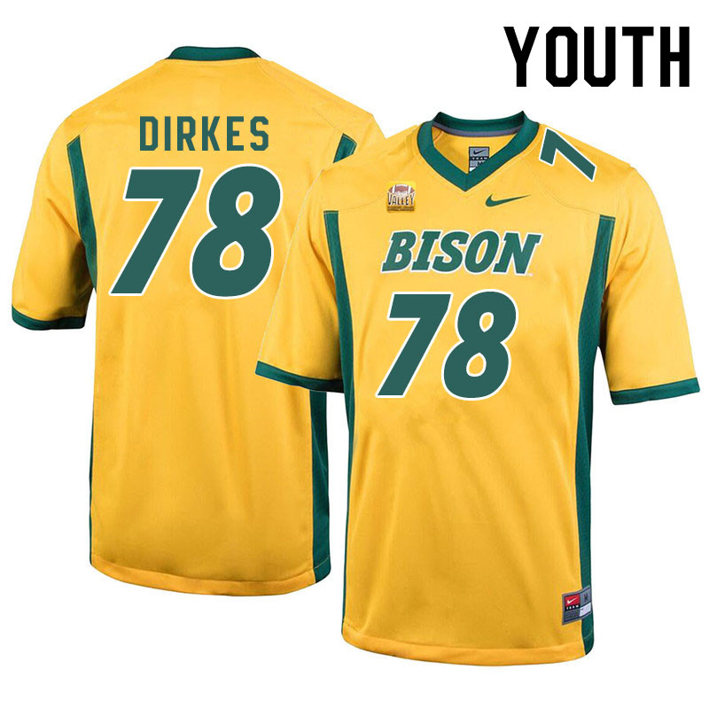 Youth #78 Nate Dirkes North Dakota State Bison College Football Jerseys Sale-Yellow